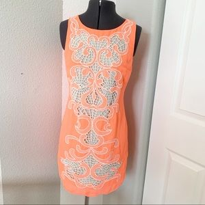 Gianni Bini backless lace neon peach white dress